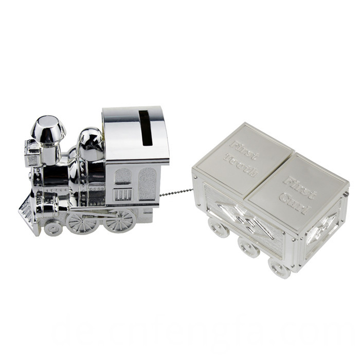 Zinc alloy train coin bank with car